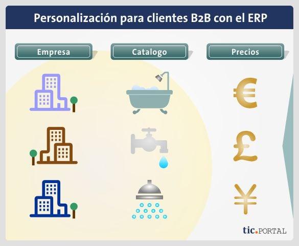 personalizacion cliente b2b ecommerce erp