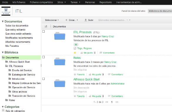 personalizacion alfresco incorporando itil
