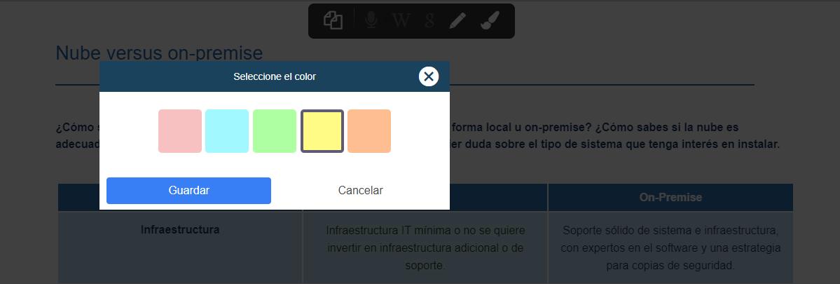 subrayar texto seleccione color